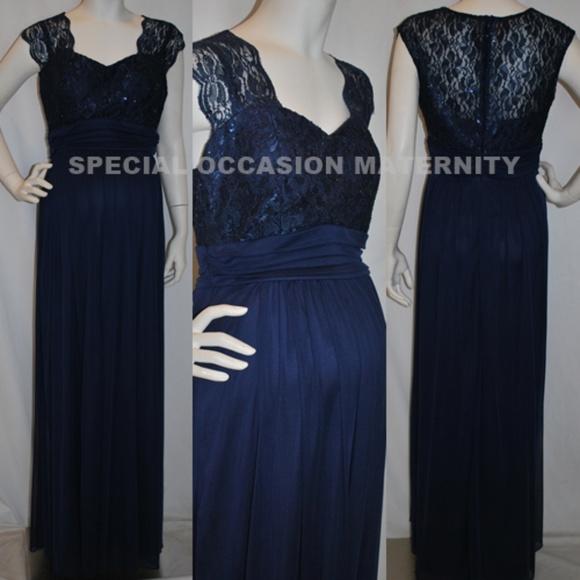 4b8ad6f00f3 Long Navy Blue Lace Chiffon Maternity Dress NEW